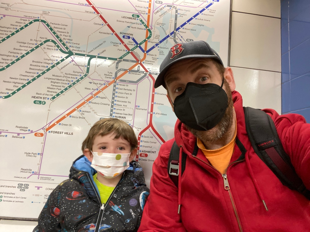 Theodore and I on the T.  For fun.
